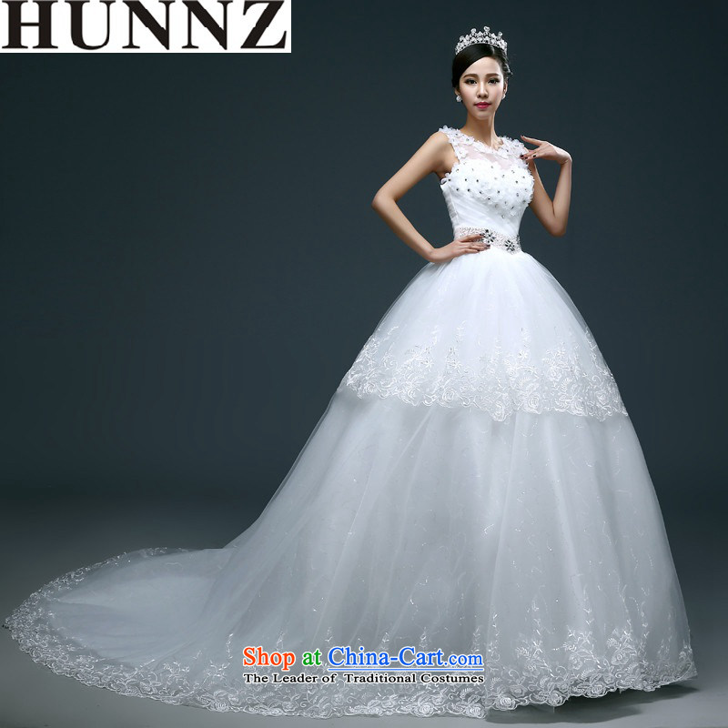 Hunnz     ?new products large stylish simplicity Sau San Word 2015 Spring_Summer shoulder lace bon bon skirt bride wedding white?L