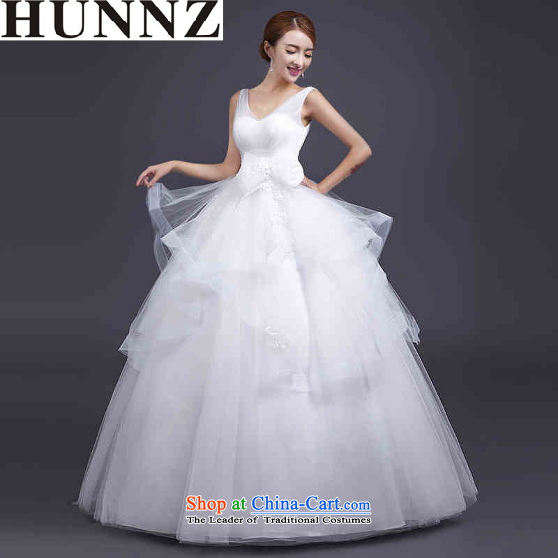 Hunnz V-neck in the EURO 2015 new stylish spring and summer bon bon skirt white upscale bride Sau San wedding white?S