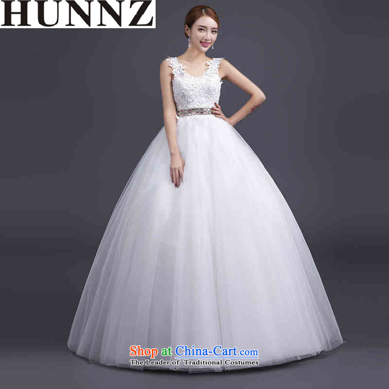 ?  ?Stylish HUNNZ V-Neck lace Korean large Sau San support new upscale princess skirt_ 2915 Spring_Summer bride wedding white?L