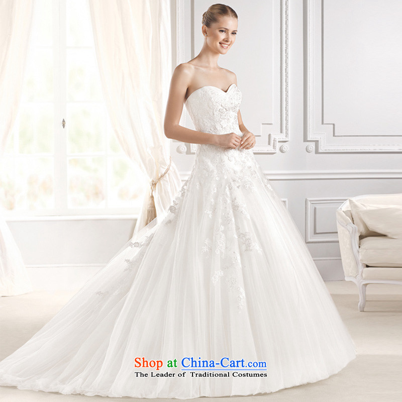 2015 Autumn and winter new stylish Western big anointed chest wedding dresses large tail custom long tail video thin white聽M聽strap design
