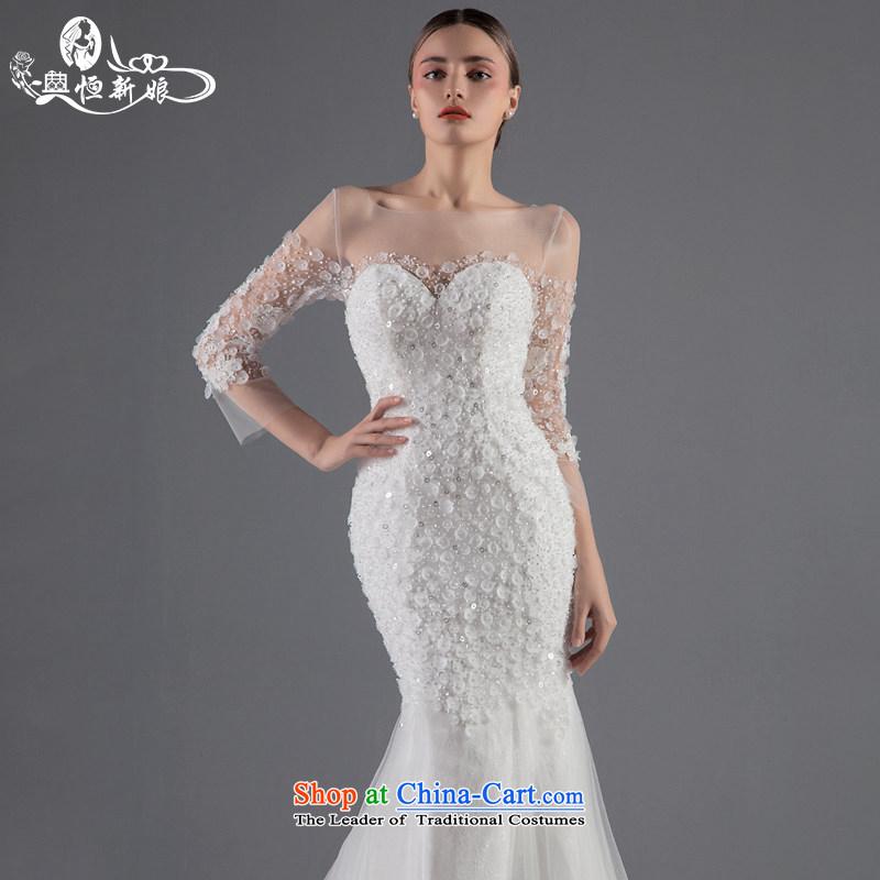 Noritsune bride luxury big wedding dress the Word 2015 Summer fluoroscopy shoulder minimalist tail graphics thin crowsfoot wedding Custom Level Wedding White?M