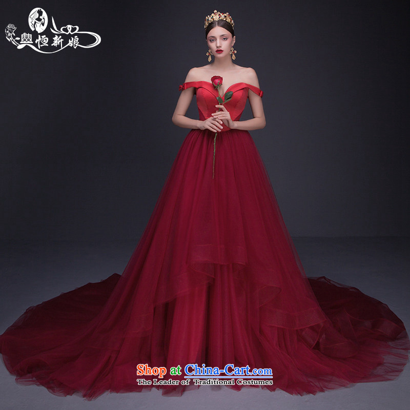 Noritsune bride Wedding 2015 Summer new red retro-wiping the chest deep V shoulder large tail sexy wedding new product pre-sale temperament outstanding red?S