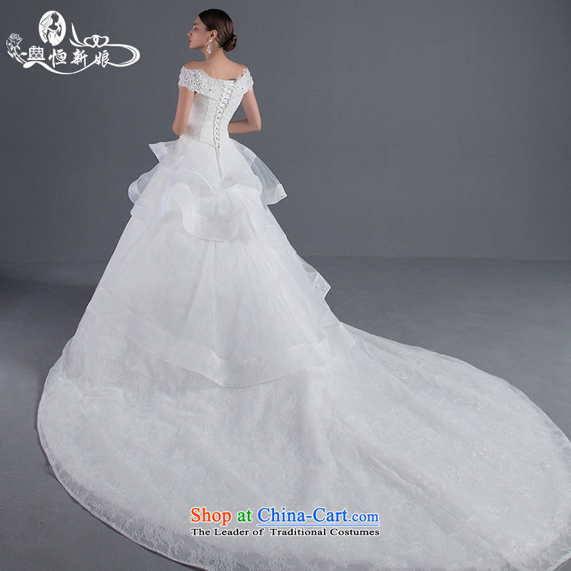 Noritsune bride female wedding Summer 2015 new Korean lace large tail and chest of the word shoulder wedding upscale White gauze new pre-sale fine custom White�M