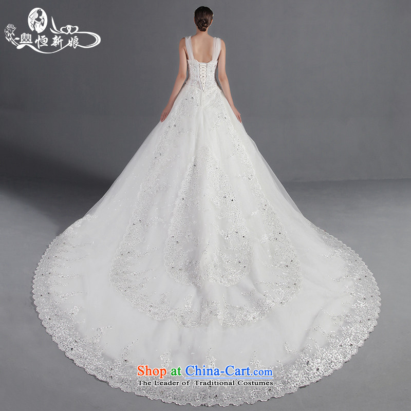 Noritsune bride upscale wedding dresses 2015 Summer new Korean deep V back lace strap shoulders major tail wedding new pre-sale fine custom White?XL