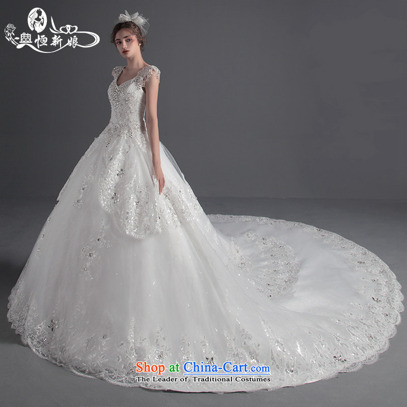 Noritsune bride 2015 wedding Amoi stylish shoulders deep V-tail lights wedding drill lace wedding new pre-sale fine custom white�S