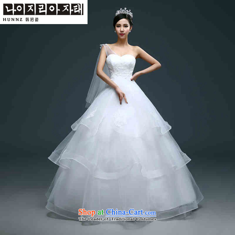 Name of the new 2015 hannizi spring and summer Korean fashion bon bon skirt shoulder large Sau San bride wedding White?XL