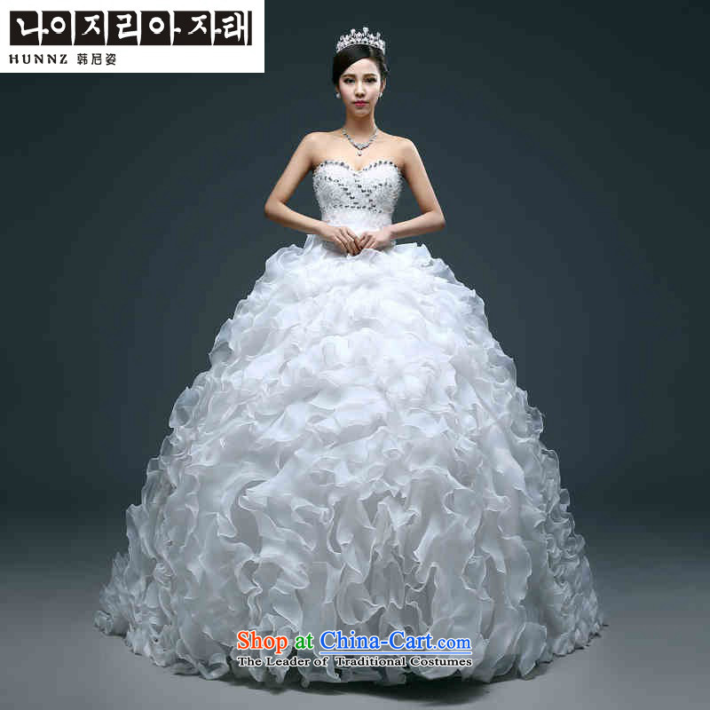 Name of the new 2015 hannizi spring and summer large stylish integrated graphics thin with Sau San continental bon bon skirt bride wedding White M