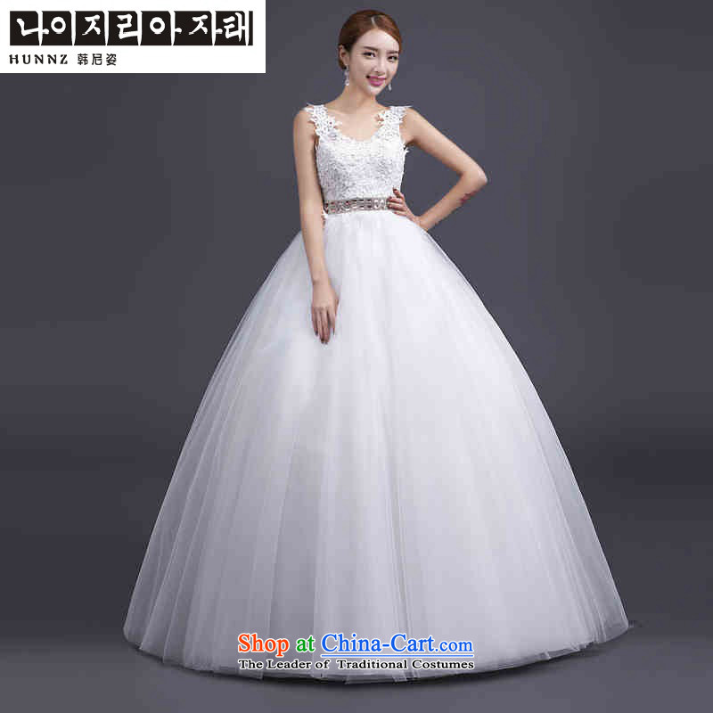 The name of the 2015 spring/summer stylish hannizi Korean Style New lace Sau San upscale V-Neck video thin bride wedding White?M