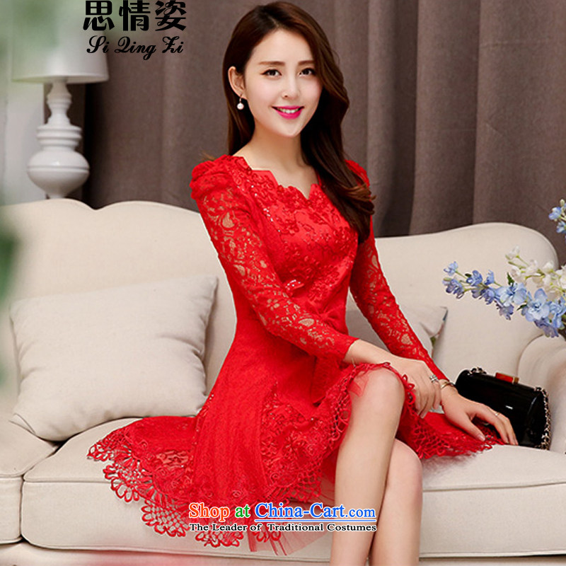 New Korea 2015 Sau San long-sleeved wedding dress autumn Sau San wild lace long-sleeved wedding dresses autumn female RED?M
