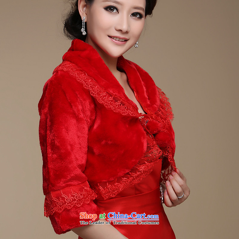 Embroidered is the new bride bride 2014 shawl marriage shawl lace gross ball roll collar short-sleeved gross shawl in large red red, embroidered bride shopping on the Internet has been pressed.