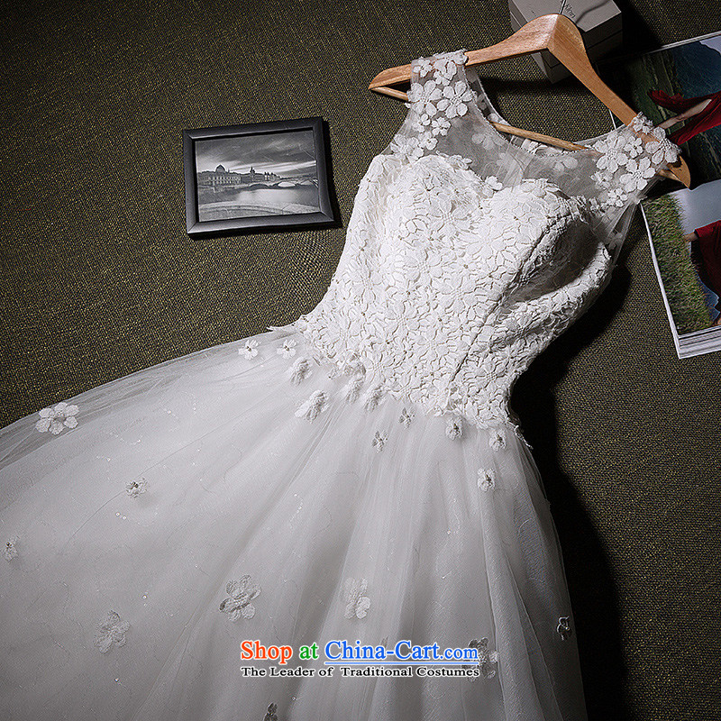 Wedding dresses new bride wedding dress married women to align the wedding the word shoulder wedding dress bon bon Princess Hotel video thin Korean-style   stars to wedding white聽L