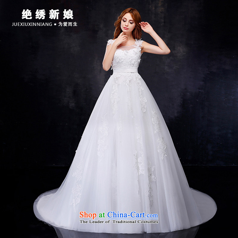 Embroidered bride 2015 summer is the new Korean shoulders large graphics thin tail marriages to align the wedding dresses, tail XXXL 2 ft 4 waist Suzhou Shipment