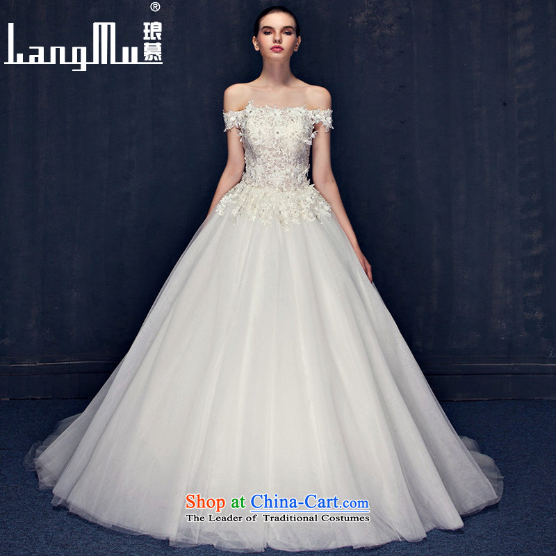 The summer and fall of Luang New Word 2015 lace shoulder wedding to align the Korean-style small trailing white flowers wedding dresses m White Advanced Customization