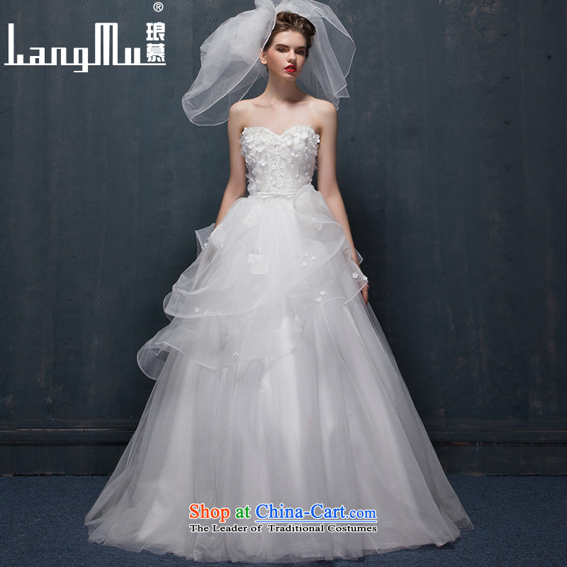 The wedding dresses Luang 2015 new dulls marriages flowers and wedding to align the Chest Custom custom-size m White