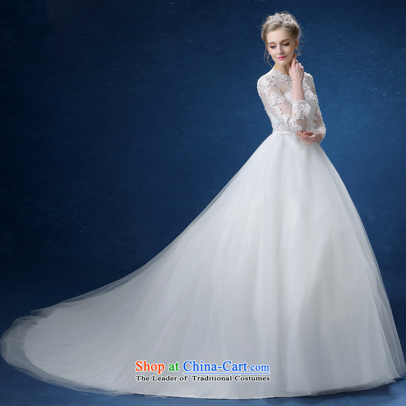 Every?2015 new one Connie field shoulder for long-sleeved lace large tail wedding dresses and stylish Korean Sau San video thin package in shoulder cuff trailing white wedding?S