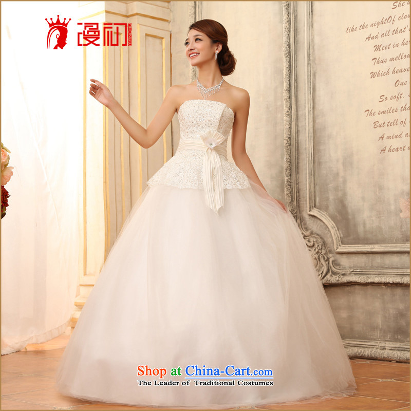In the early 2015 new man anointed chest bon bon skirt wedding water-soluble lace marriages to align the strap wedding White XXL