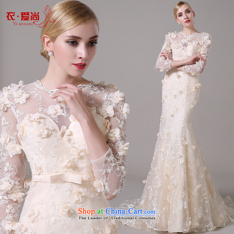 The Korean version of the shoulders, long-sleeved video thin bride crowsfoot champagne color word shoulder lace tail wedding dresses 2015 new champagne color can be made plus _30 Does Not Return