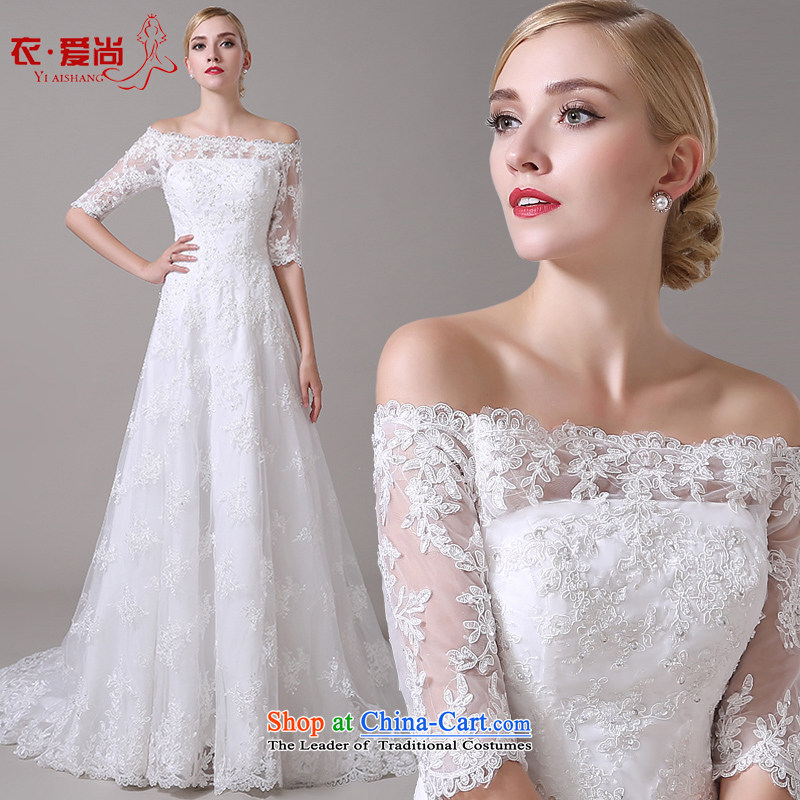 Wedding dress 2015 new word shoulder major Korean tail wedding lace video thin straps crowsfoot wedding summer female white?L