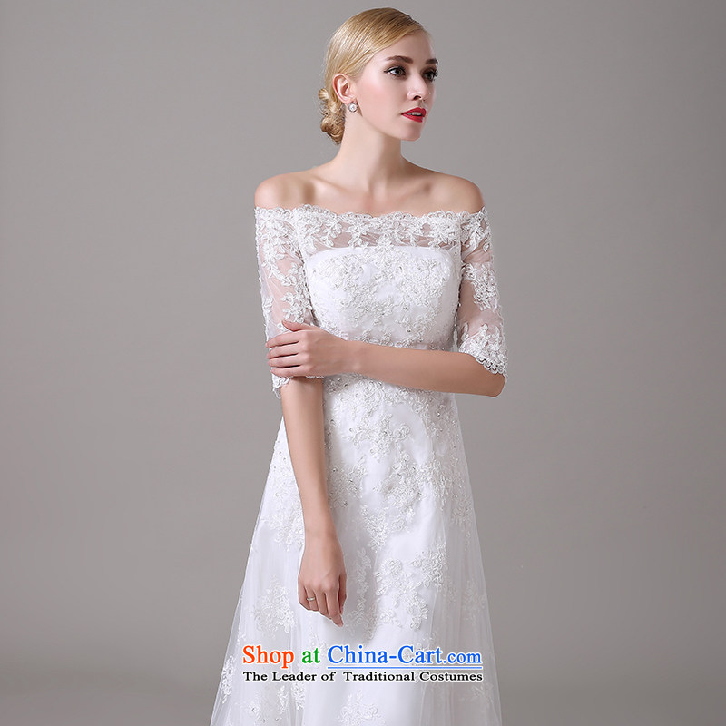 Wedding dress 2015 new word shoulder major Korean tail wedding lace video thin straps crowsfoot wedding summer female white L, Yi love is , , , shopping on the Internet