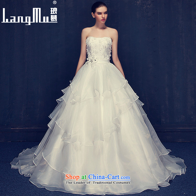 The 2015 summer Luang wedding dresses new marriages stylish pregnant women and Chest Flower wedding tail autumn custom m White?L