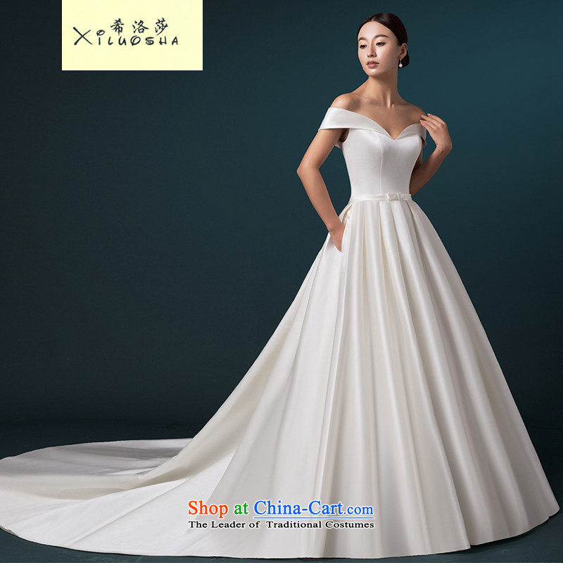 Hillo Lisa _XILUOSHA_ wedding dresses 2015 new high-end custom wedding continental luxury one field shoulder tail wedding Satin White?L