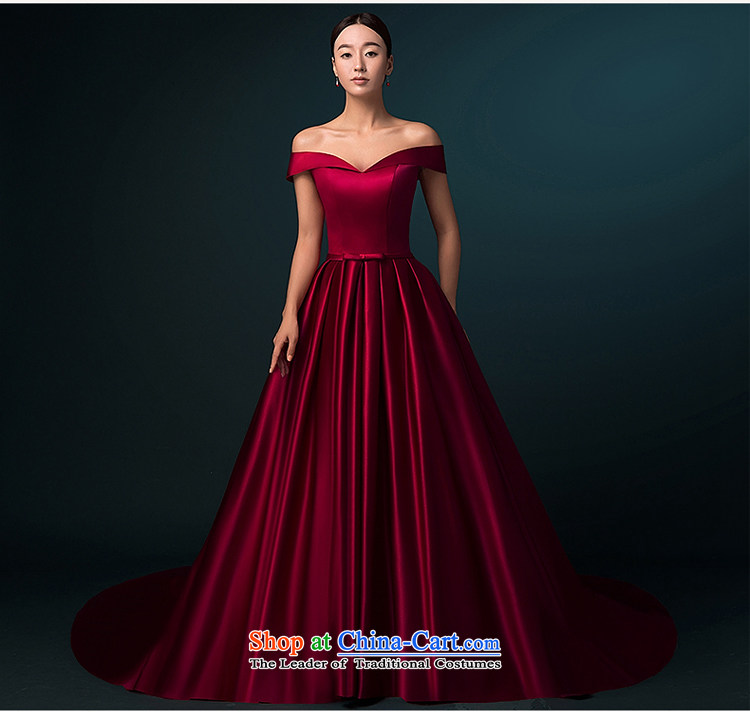 Hillo Lisa (XILUOSHA) of Windsor wedding dresses 2015 new word autumn shoulder wedding tail high-end wedding satin custom luxury wine red XXL picture, prices, brand platters! The elections are supplied in the national character of distribution, so action, buy now enjoy more preferential! As soon as possible.