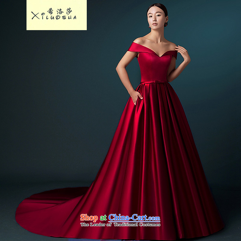 Hillo Lisa _XILUOSHA_ of Windsor wedding dresses 2015 new word autumn shoulder wedding tail high-end wedding satin custom luxury wine red?XXL