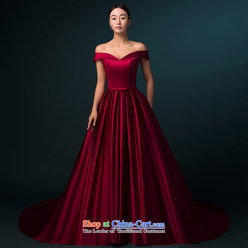 Hillo Lisa (XILUOSHA) of Windsor wedding dresses 2015 new word autumn shoulder wedding tail high-end wedding satin custom luxury wine red XXL, HILLO Lisa (XILUOSHA) , , , shopping on the Internet
