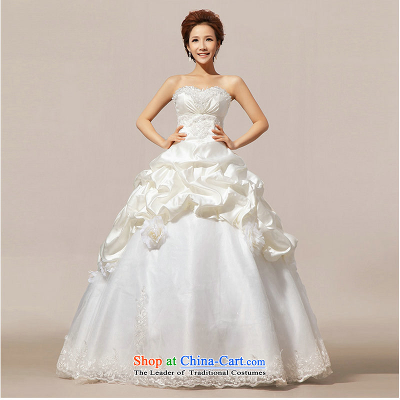 There is also a grand new optimized 2014 Korean sweet Princess Mary Magdalene chest graphics to align the bride thin dress wedding dresses XS1061 white package聽L