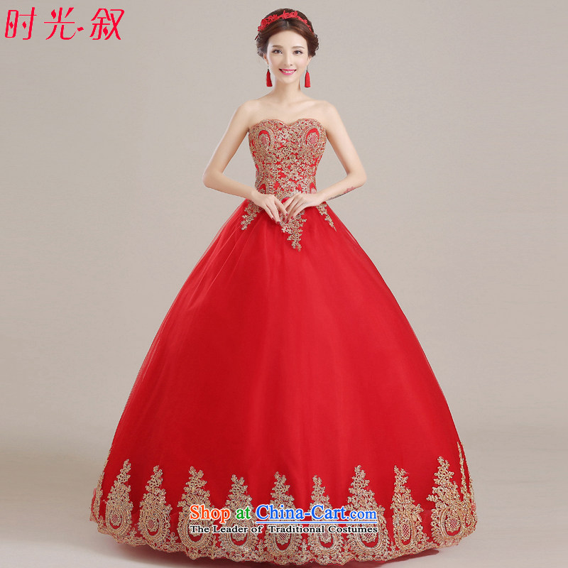 Time Syrian red wedding dresses skirts, Japan and the Republic of Korea Red bride larger embroidery anointed chest to wedding Korean brides bows wedding gown services red?XXL