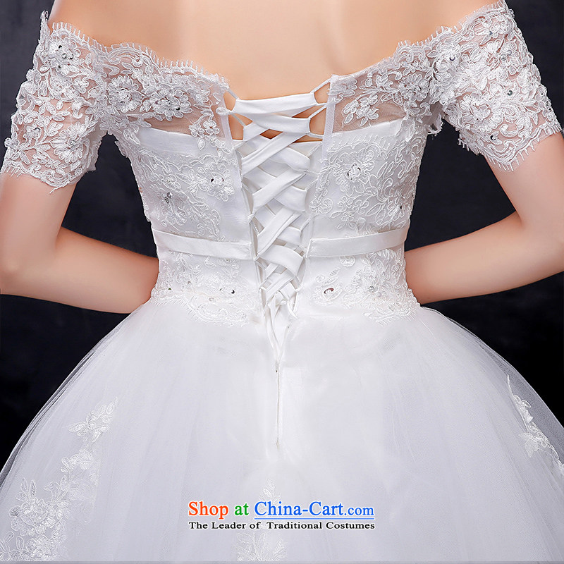 Summer 2015 new Korean word lace shoulder larger video thin bride align to bind with the marriage wedding dressis embroidered brides XXL, white , , , shopping on the Internet