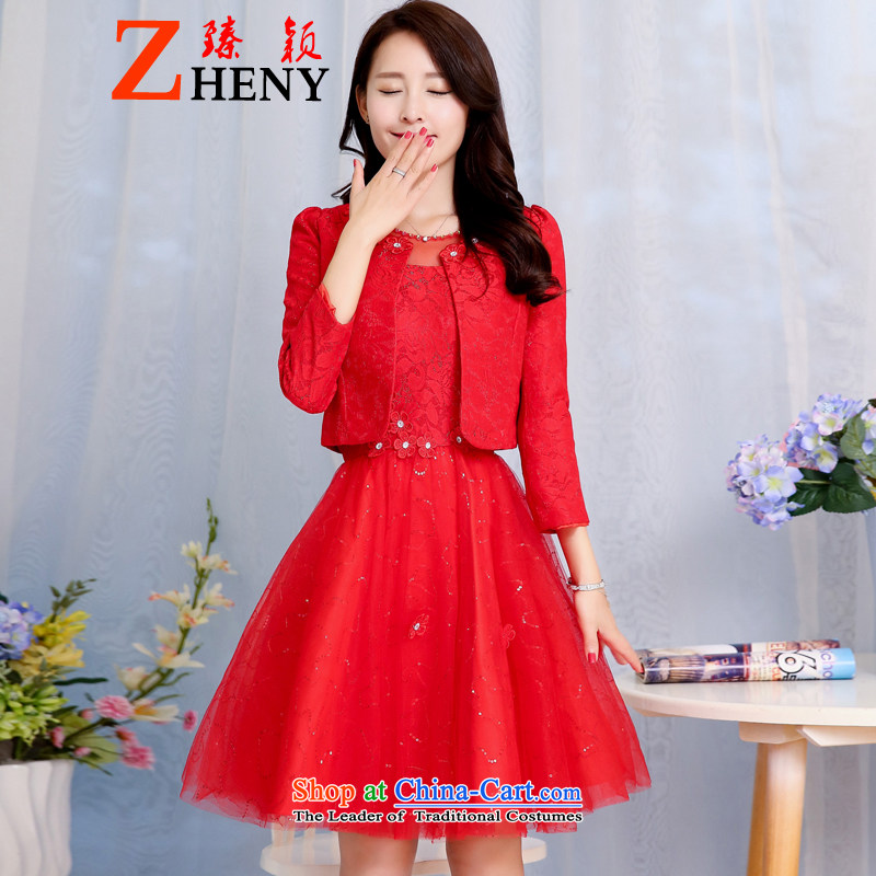 Zen Ying wedding new bride in spring and autumn 2015 wedding dress bows services back door lace dresses women's two kits are red?L