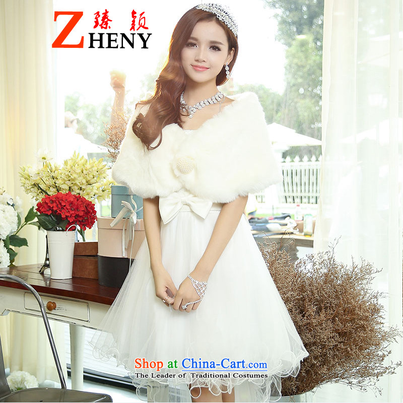 Zen Ying bride bridesmaid serving spring and summer women dovetail version, chaired service performances in the short, wipe the chest evening dresses dresses white�L
