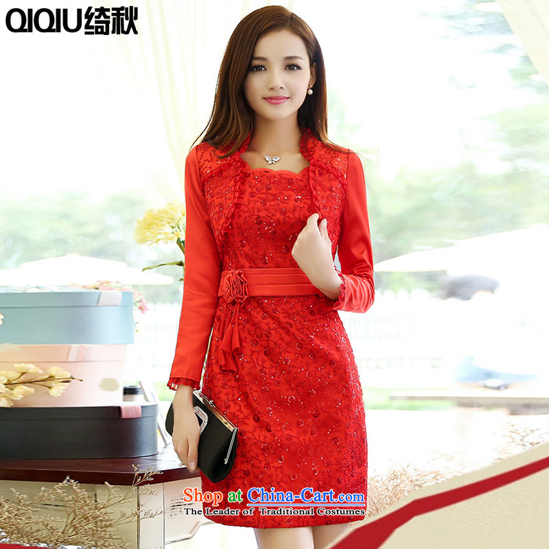 As autumn 2015 Spring and Autumn new wedding dresses female embroidery retro a marriage celebration service bows bridesmaids short skirt, two kits RED?M