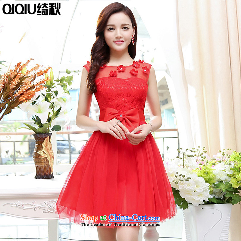 As autumn wedding girl in spring and autumn 2015 new embroidery minimalist sleeveless evening dress in jubilation bows long bridesmaids will dress red?XL