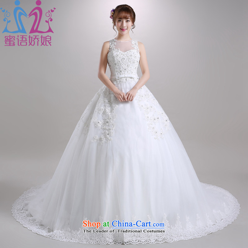 Talk to Her Wedding dress large tail 2015 autumn and winter new round-neck collar Korean romantic video thin large bride to align the wedding white?L
