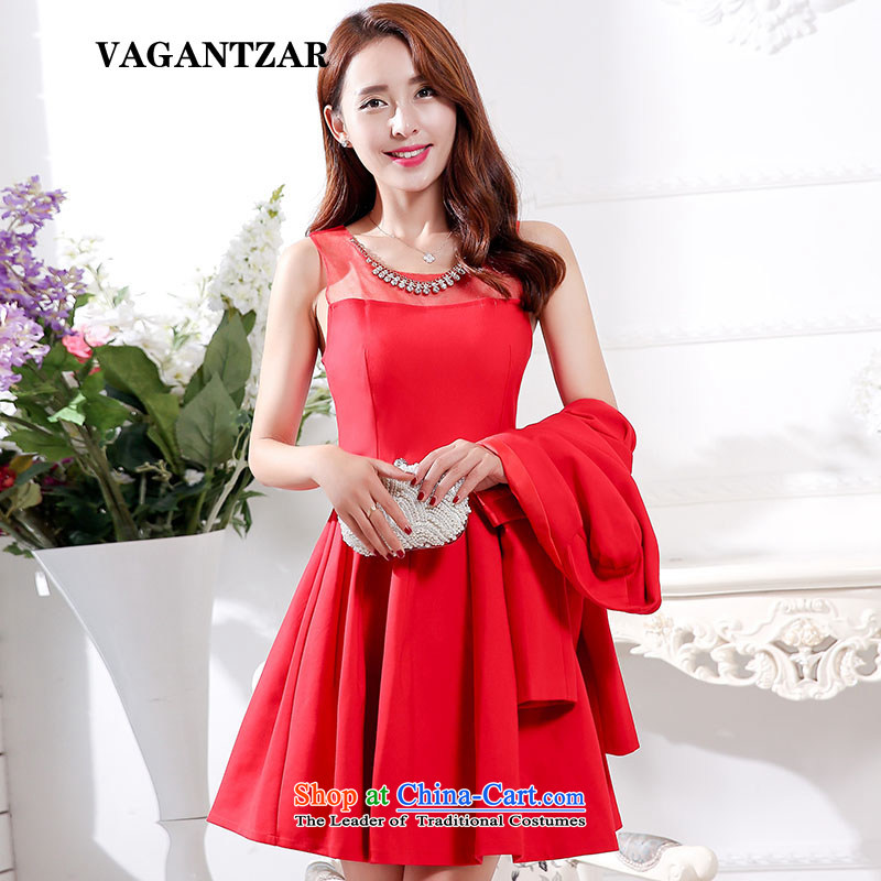 New Spring and Autumn VAGANTZAR2015 large red bride replacing dresses marriage the lift mast bows dress lace red dress two kits1595 red?L