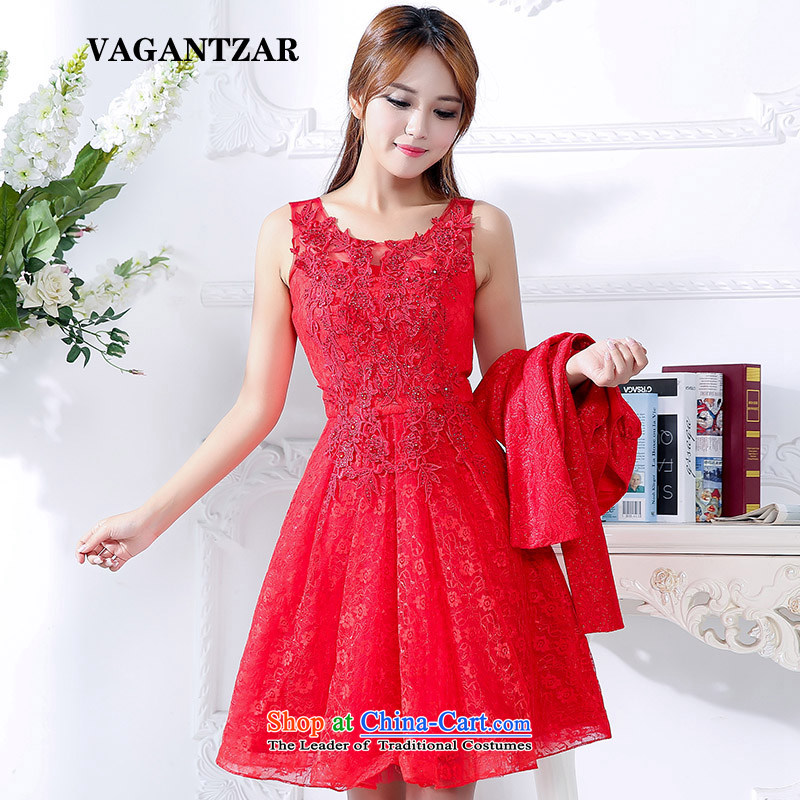 New bows dresses VAGANTZAR2015 brides fall and winter dresses two kits back door small red dress marriage two kits 1592 RED�M