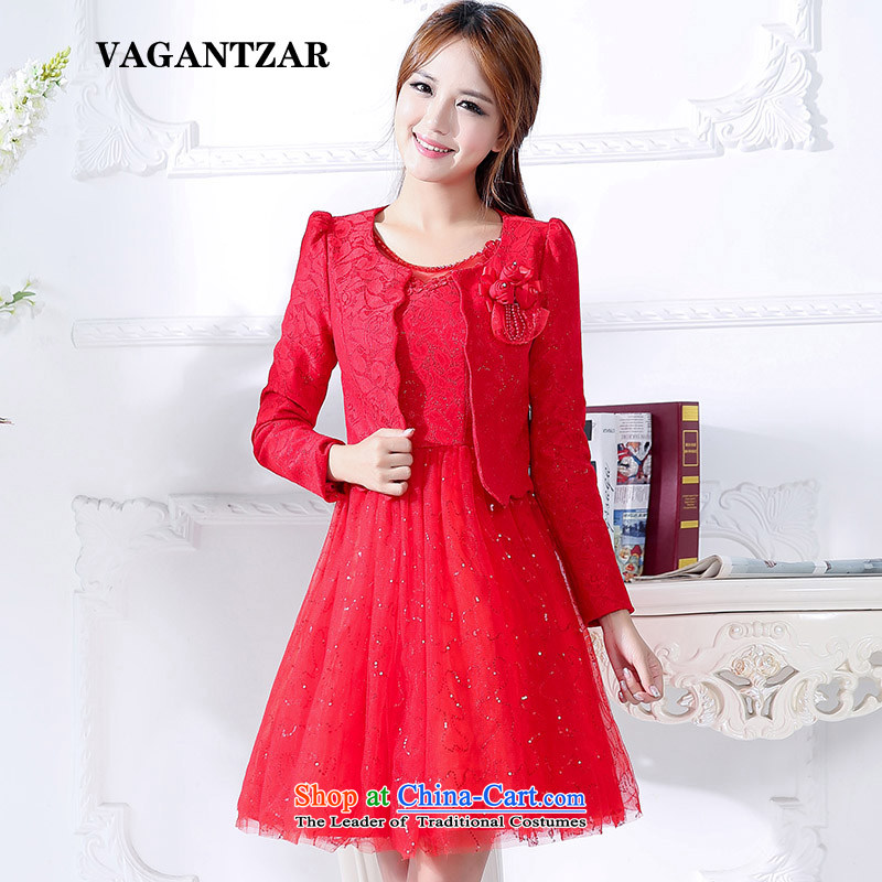 Vagantzar2015 new marriages bows dress two kits for larger red long skirt wedding dress autumn and winter 1593 L