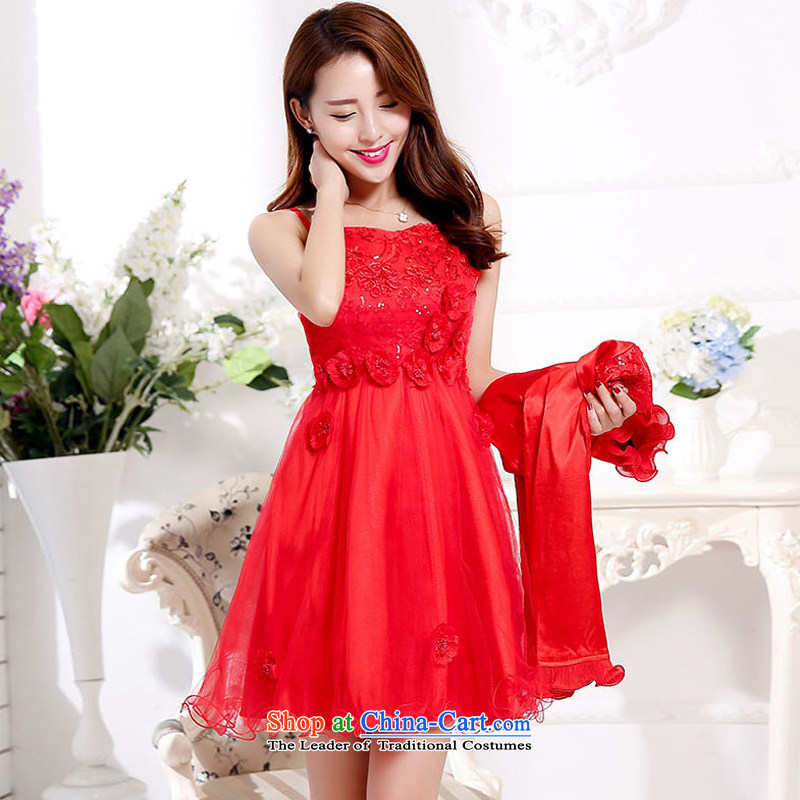 2015 Fall/Winter Collections Of new women's Korean leisure neck long skirt small-piece set with two coats wedding dresses RED�M