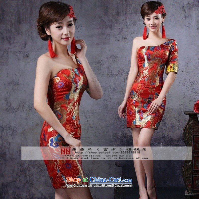 Break clearance of the cost. The new bride wedding dresses cheongsam wedding photography subject wedding dresses red dragon robe L
