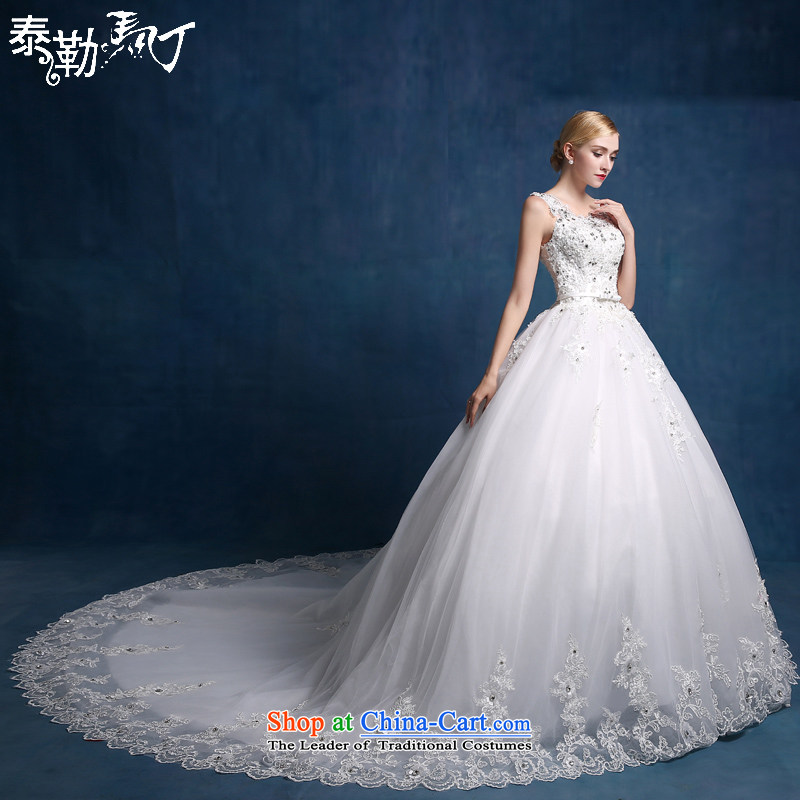 Martin Taylor Wedding 2015 new word shoulder tail wedding Korean lace stylish wedding bride custom wedding dress autumn white (sent three piece) S
