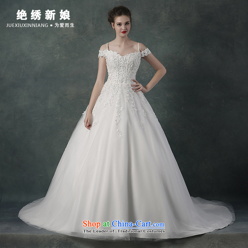 2015 Autumn and winter new Korean word lace shoulder and sexy large graphics thin marriages wedding dresses tail?L