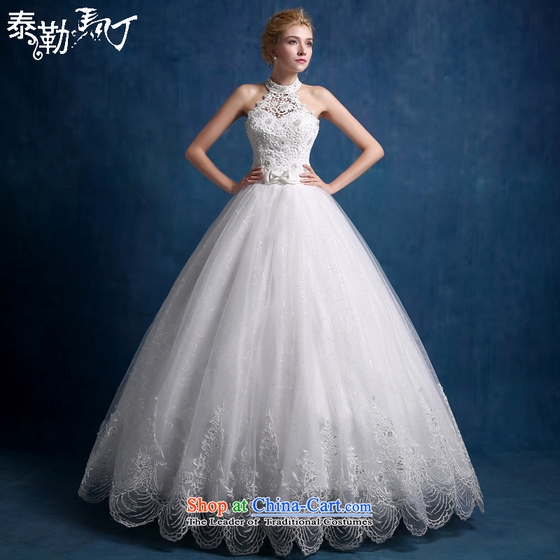 Martin Taylor wedding dresses in summer and autumn 2015 new stylish Korean lace wedding hang back one word must also shoulder larger bon bon skirt white (sent three piece) S