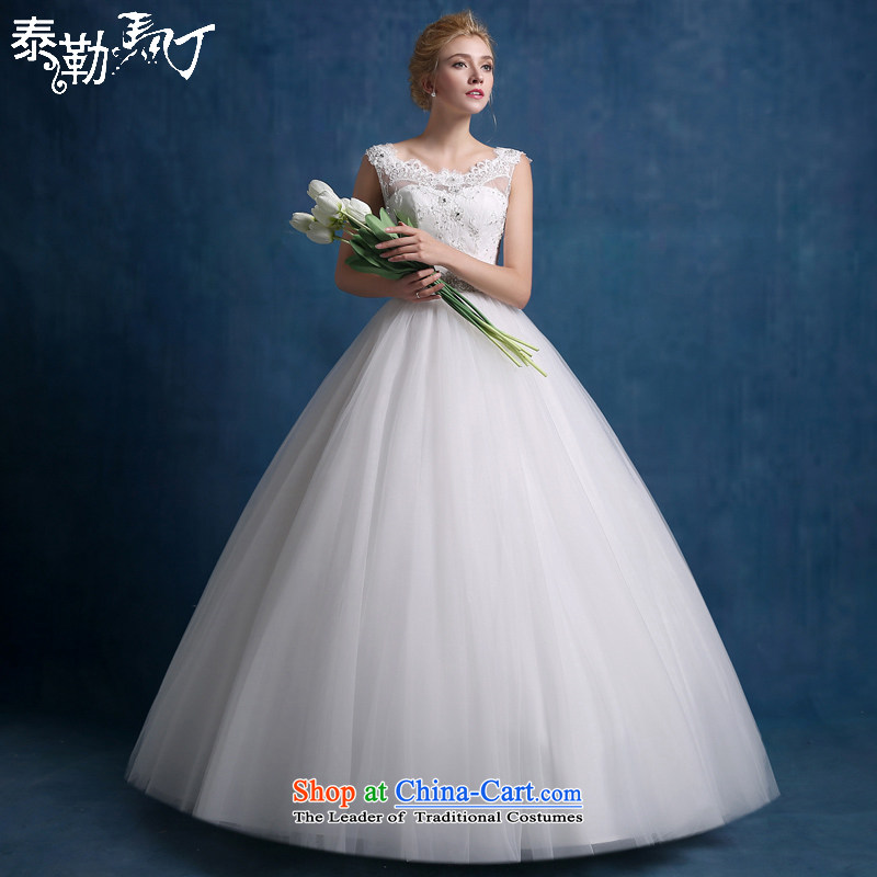 Martin Taylor wedding dress the summer and autumn of 2015 the new Korean minimalist shoulders to align graphics thin marriages a field shoulder wedding female white _sent three kit_ L