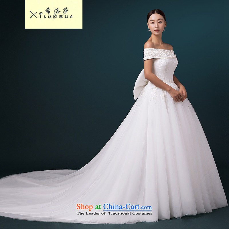 Hillo XILUOSHA Lisa _high-end_ of the word wedding shoulder custom bride wedding long tail Wedding 2015 new luxury hunsha White?XXL