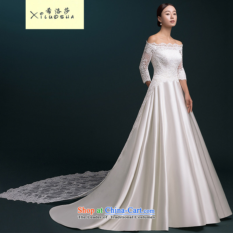 Hillo Lisa (XILUOSHA) Bride wedding word shoulder wedding tail satin lace bridal dresses cuff high-end custom Satin White?XXL