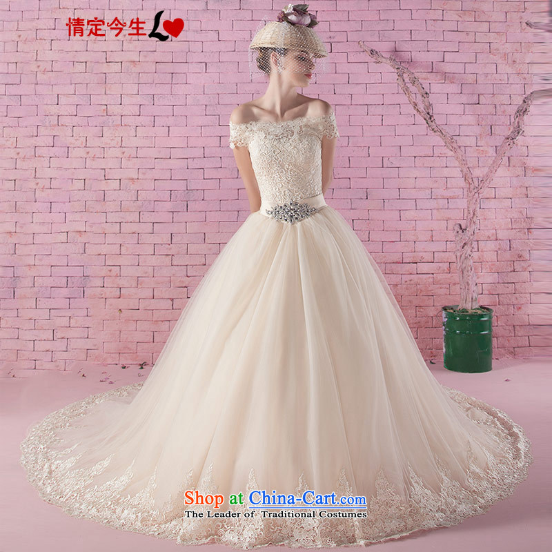 Love of the overcharged new Word 2015 stylish shoulder lace diamond champagne color romantic tail wedding Korean style wedding gown marriages tail?XS