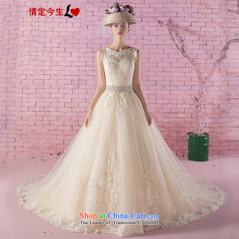 Love of the life of the new 2015 Autumn Korean word lace shoulder Diamond Video thin champagne color tail wedding tail)?XXXL