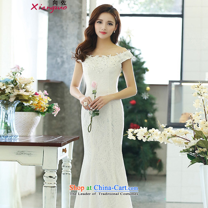 2015 Fall_Winter Collections new Korean word   shoulder length_ crowsfoot dress dresses wedding white?L